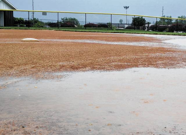 Strong storms forced the postponement of Friday's district final softball games, as heavy rain soaked playing fields across the area, including the diamond at the old Lebanon Junior High School (pictured), where West Liberty-Salem was scheduled to face off with Reading. The Tigers are slated to try again at noon today, while Mechanicsburg is going to try to get in its contest with Franklin Monroe at Piqua at 10 a.m. today.