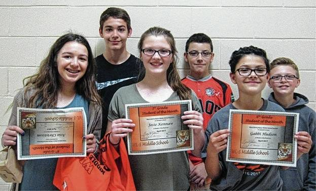 The WL-S Middle School Students of the Month of April are 8th graders Asia Christison and Dawson Jenkins, 7th graders Josie Kennaw and Cody Cushman and 6th graders Gabbi Hudson and Gavin Wilcoxon.