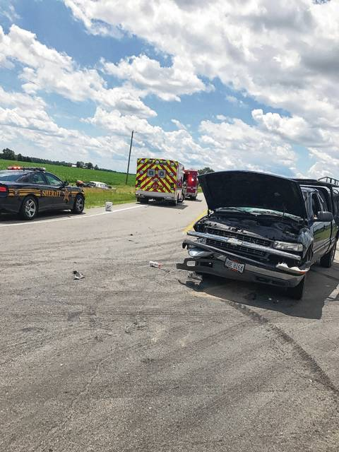 A two-vehicle accident at the intersection of state Route 235 and Christiansburg-Jackson Road on Monday resulted in two injuries, according to information from the Champaign County Sheriff's Office. Pictured is a 2002 Chevrolet truck whose driver was cited for failure to yield.