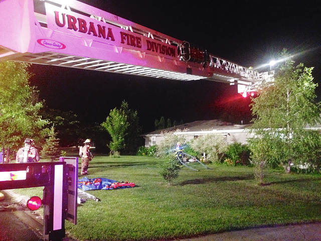 Urbana Fire Division crews respond to a residential fire at 1032 Bon Air Drive on Thursday at approximately 11 p.m.