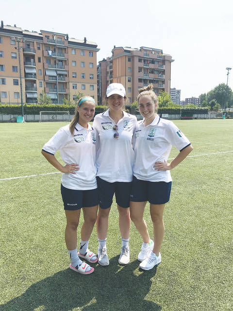 Three West Liberty-Salem soccer players traveled overseas to Italy with their club soccer team to train, play and tour. Taylor Lauck, Paige Shafer and Gabby Hollar (pictured left to right in Italy) are playing in Italy with their club soccer team for 10 days. They won a 3-team tournament 2-0 and 5-0. They are training, playing games and sight-seeing with their Locker Soccer team coached by Steve Locker out of Powell, Ohio.