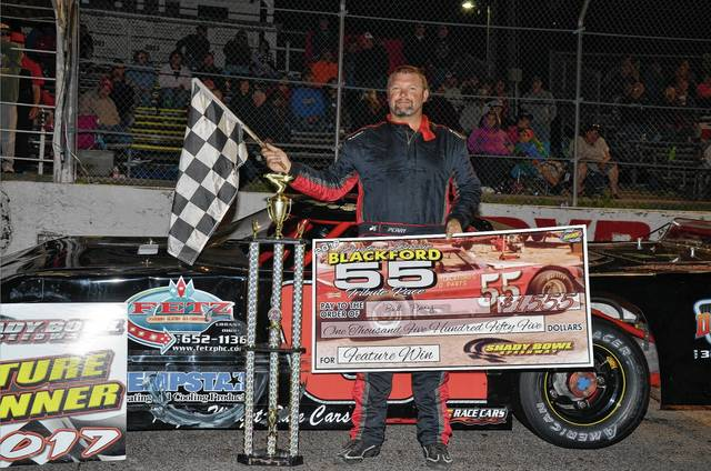 Bud Perry, subbing in for a medically-sidelined Mark Ward, won the 55-lap Blackford feature on Saturday at Shady Bowl.