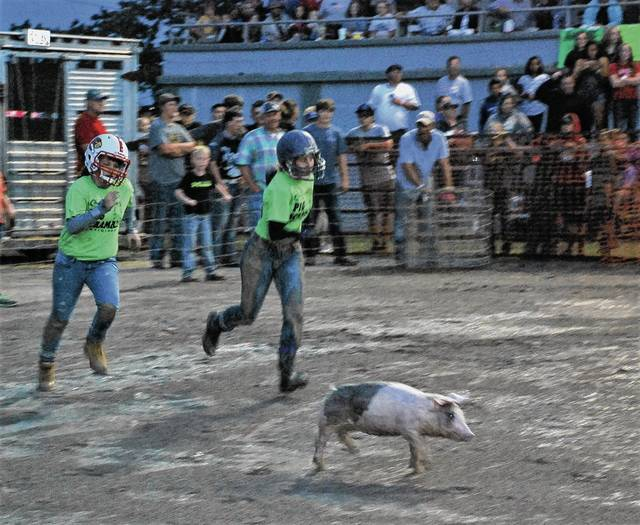 Contestants pursue a pig across the muddy track at the grandstand during the Champaign County Fair. The pig and calf scrambles, which are an annual tradition, were raced under the infield lights as the action in the mud mostly occurred after dusk on Sunday. Each contestant who captures a pig is then expected to raise it for the next year and bring it back to the fair, where they will compete in the Scramble Pig Show and Jr. Fair Swine Sale.