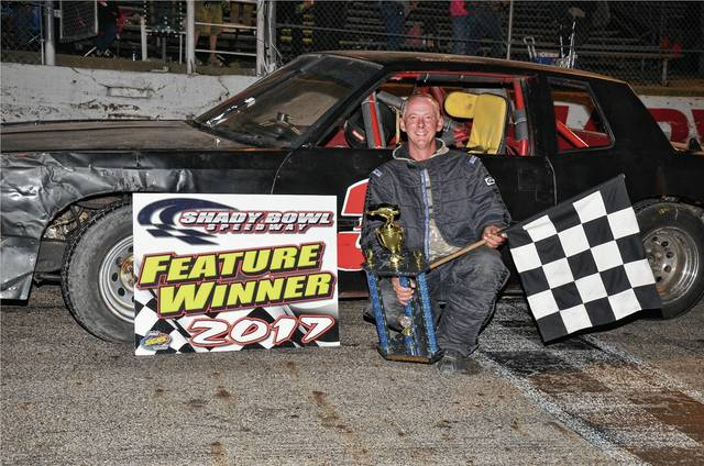 John Eastman (pictured) celebrated his first-ever pure stock main event win with his mother on Saturday at Shady Bowl.