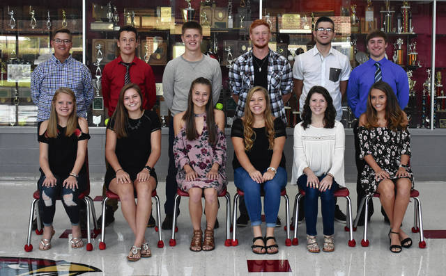 Triad High School homecoming is this week. The king and queen will be announced prior to Friday night's home football game. The homecoming court includes, front from left, Makenzi Braughtigam, Kendell Hughes, Kristin Bailey, Lauren McCall, Sydney Propst, Tori Thomas, back from left, Devin Butz, Tate Campbell, Cameron Boes, Jacob Greve, Parker Wells and Trevor Instine.
