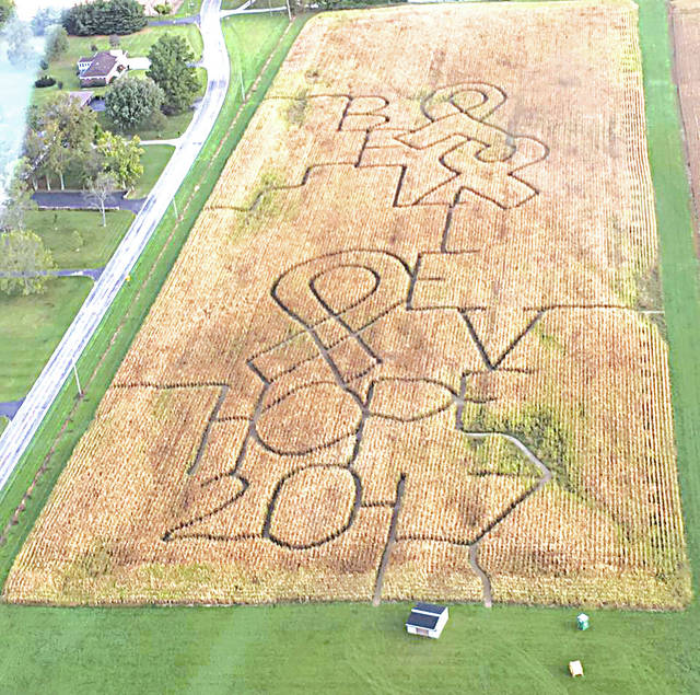 "Bittersweet Knolls in rural St. Paris is hosting a 10-acre haunted corn maze this weekend designed around cancer awareness with the words ""believe"" and ""hope"" cut into the center of the cornfield."