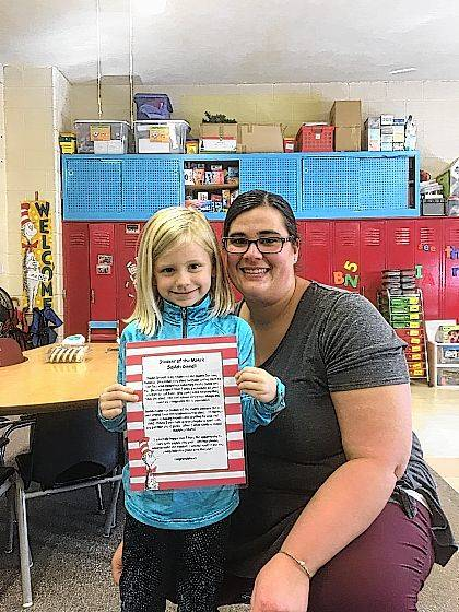The Urbana North Elementary Student of the Month is Saylah Dinnell from Mrs. Anderson's kindergarten class.