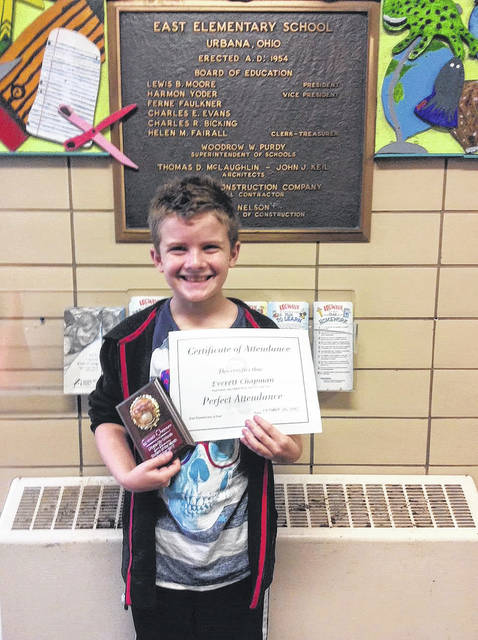 Everett Chapman was honored as the 4th-grade Student of the Month for October at Urbana East Elementary.