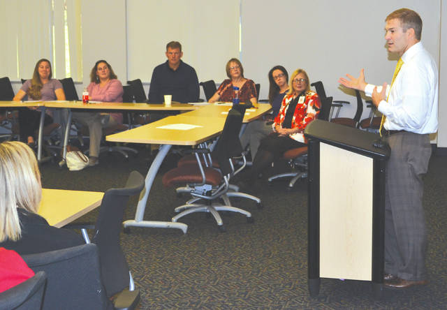 U.S. Rep. Jim Jordan speaks to the Champaign County Manufacturing HR Council at Urbana University on Monday.