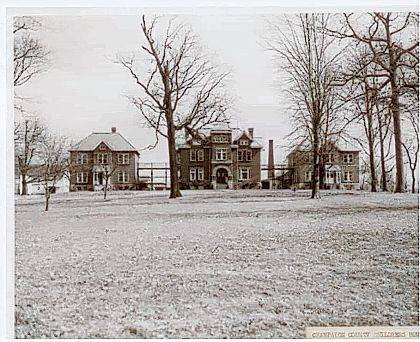 Then - This #A2319 postcard photo (circa 1934) of the Champaign County Children's Home, looking east, shows the three main buildings and the barn and laundry buildings. The Humphrey School building, now part of the Champaign County Historical Museum complex, is not shown as it was south of these buildings. The Humphrey School building became the home of the Champaign County Historical Museum in 1972.