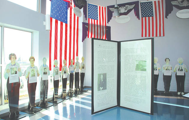 The entryway of the Champaign Aviation Museum currently displays an exhibit about the WWII women's auxiliary corps.