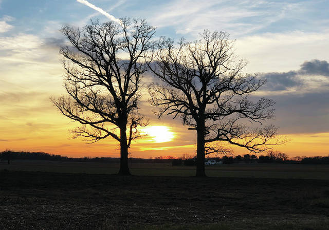 The late autumn sun sets between the trunks of two leafless trees in front of a farmstead on Urbana Moorefield Pike. Temperatures have been warmer than usual for the past week, but snow is in the forecast for the first full week of December.