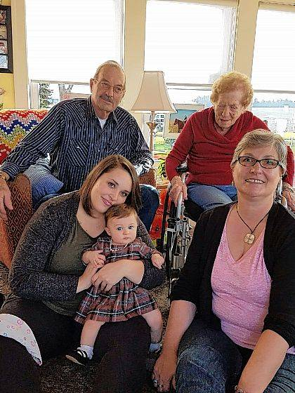 Five generations of the Champaign County Hoffman family recently had their photo taken: back row from left, Great-grandpa Paul Hoffman, Great-great-grandma Maxine Hoffman, front row from left, Mom Jessica Doggett, Baby Grace Doggett and Grandma Natalie Addae.