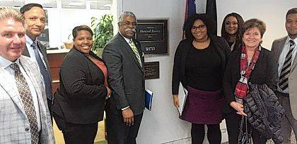 Angela Hayes of Rittal Corporation, third from left, and CEP Director Marcia Bailey, second from right, are shown at Business Leaders United's Business and Education Leaders Fly-in in Washington, D.C. They were invited by Dr. Amit Singh, Provost and Senior Vice President of Academic Affairs of Clark State Community College, second from left. Also pictured are Leah Hill, legislative assistant to Sen. Sherrod Brown, fourth from right, and Dominique Warren, legislative fellow for Brown, far right, and other visitors from Ohio.