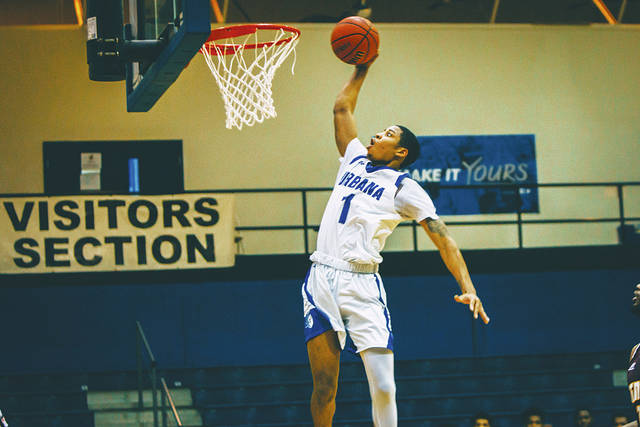 UU's Chris Jackson (1) goes in for a dunk during Tuesday's game with visiting Central State.