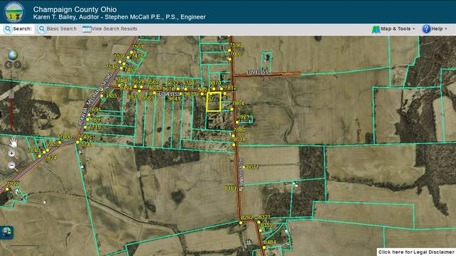 Pictured in a screenshot from the Champaign County Auditor's website is a property and road map of the area where Sunday's shooting was reported.