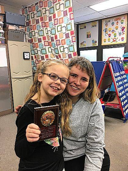 Brooklyn Robbins is Urbana North Elementary's Student of the Month. She is shown here with Mrs. Petry-Brisley.