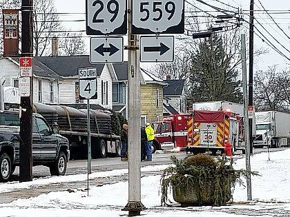 Personnel from the Mechanicsburg Fire Department responded to a fire at the rear of a tractor trailer near the intersection of Main Street and Sandusky Street on Wednesday. They found a brake had caught fire.