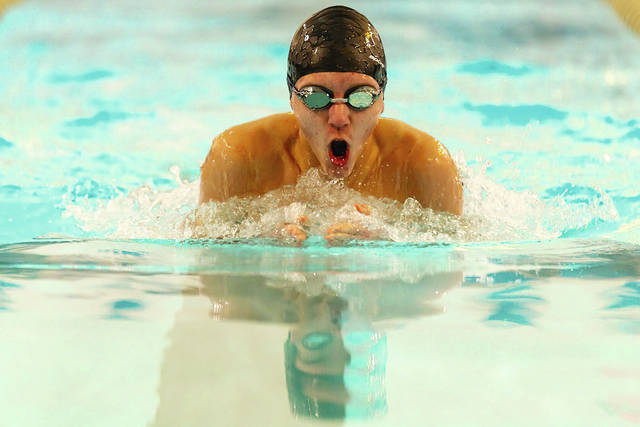 Ethan Kramer, age 15 of Mechanicsburg High School, competes during a recent Flying Fish swim meet.