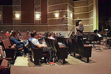 Karen Sorreles of the MRESC speaks to ILHS students about the upcoming Logan County Career Expo.