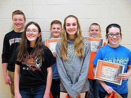 The December 2017 West Liberty-Salem Middle School Students of the Month are 8th graders Natalie Hacker and Hayden King; 7th graders Kami Claybaugh and Wylie Harbour; and 6th graders Julia Wilson and Eli Bell.