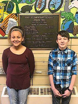 The Urbana East Elementary 5th grade Students of the Month for November and December 2017 are Meah Portis and Hayden Kelley.