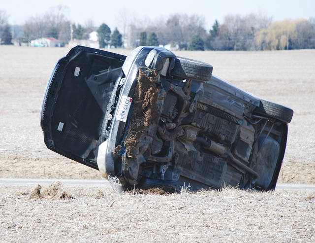 This vehicle ended up on its side following a crash on Clark Road near U.S. 68 at approximately 3 p.m. on Friday. No other details were available by press time.