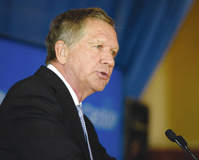 "Ohio Gov. John Kasich is shown during a 2017 speech in this photo from the Ohio governor's website. Kasich on Thursday advocated a ""red flag"" law for Ohio, a ban on armor-piercing ammunition and other gun policy positions."