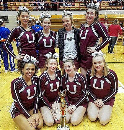The Urbana High School competition cheer team completed the 2017-2018 season by placing 12th out of 22 teams in the Division IV non-building division at the OASSA state meet at St. John Arena on March 4. The team included, back row, Brayden Andrews, Mari Artis, Ally Pierce, Mary Habodasz, front row, Taje Mack, Megan Ridder, Maginta Grim and Cortney Kiser. The team is coached by Jenny Payne and Amy Russell.
