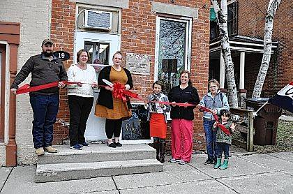 "The Champaign County Chamber hosted a ribbon-cutting March 20 at a new business in Mechanicsburg, Hillbilly Hippie, 19 N. Main St. From left are Craig Blair, Charlene Sharp, Sarah Blair, owner, Lydia Hess, Chamber executive director, Ellen Spinner, Grace Kurtz and her granddaughter, June Hochstedler. The store offers ""upcycled goods for your home."""