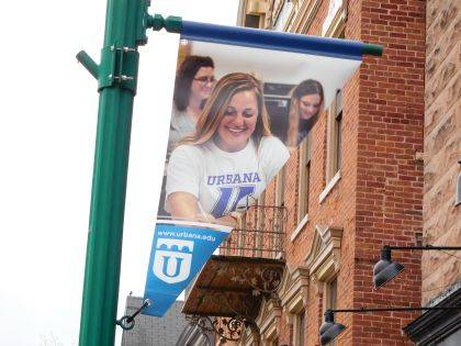 UU students are featured on some of the flags that will fly in downtown Urbana.