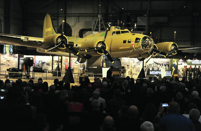 Mike Ullery   AIM Media Midwest B-17 Flying Fortress <em>Memphis Belle</em> is unveiled in a private reception ceremony at the National Museum of the United States Air Force on Wednesday evening. The <em>Belle</em> underwent more than 10 years of restoration work to make her ready for her last mission - to keep the memory of our World War II Army Air Corps veterans alive forever and to educate future generations about the sacrifices and heroism made by our Greatest Generation.
