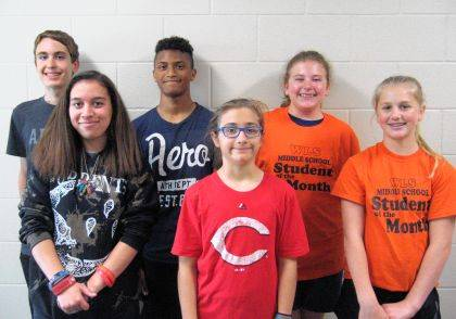 West Liberty-Salem's April Middle School Students of the Month are 8th graders Lauren Kindle and Tate Yoder, 7th graders Lena Kauffman and Dylan Glunt and 6th graders Veronica Wall and Olivia Wilcox.