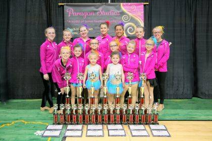 Paragon Studios performed May 5-6 at the Ohio State Baton Competition at the Nutter Center, Dayton. The group had 51 wins, including 39 individual wins. Paragon had 20 girls competing in the state competition this year. Paragon Studios is owned by Holli Brown, Urbana. Shown are, top row from left, Telanei Brown, Jessica Rooney, Cori Kent, Calle Manzi, Kiki Zizzo, Paige Deere, Andi Marland, bottom row from left, Sevonei Brown, Bella Miller, Elaei Brown, Phoebe West, Bella Huffman, Layla West, very bottom, Ally Shaner and Scarlet Miller. Missing are Allayna Serr, Bella Serr, Raegan Serr, Shai-Anne Settle and Jocy Holtsberry.