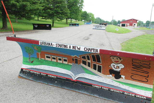 High school students around Champaign County decorated Ohio Department of Transportation snow plow blades with art during the past year. The blades from all around the county are on display at Melvin Miller Park in Urbana, including this one painted by Urbana. The blades are on the east side of the park near the adult softball diamonds and picnic/grill area.