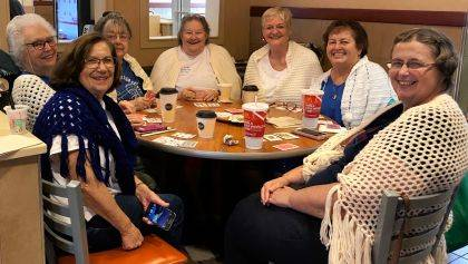 After an athletic Monday morning of chair volleyball at the Senior Center, seven Urbana friends head over to McDonald's for a card game of Granny's Shawl. The group has had these Monday get-togethers the last four or five years and this past Monday decided to actually wear shawls and have their photo taken. From left are Judy Kathery, Barbara Lynch, Kay Evilsizor, Jerryann Violet, Cathy Parks, Carolyn Cox and Sue Geuy.
