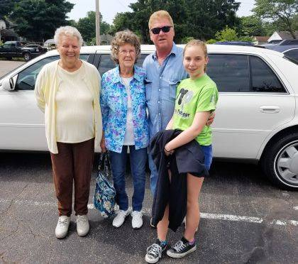 It was a day of riding in style on June 7 as Carolyn Miller and friends traveled by limousine to Der Dutchman restaurant in Plain City for lunch. Miller won the free limousine service as part of Walter & Lewis Funeral Home's drawing at Senior Citizens Day in May at the Champaign County Fairgrounds. Pictured are Miller and her friends Veda Jackson and Chuck and Sara Maddy. Chuck Maddy was also celebrating his birthday.