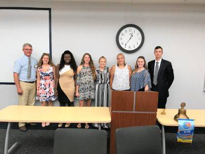 The Urbana Rotary Club heard from its scholarship recipients regarding their higher education plans. From left are Tim Martin, Scholarship Committee Chair, Morgan Lattimer, Bridget Ofori, Megan Ridder, Kirsten Lewis, Bronwyn Walker, Olivia Krieger and Club President Brad Millice.
