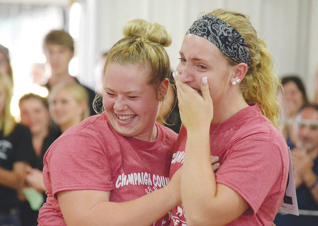 Miranda Lauchard, right, won the King of the Ring competition on Thursday, compiling an aggregate score of 223 points. A jubilant Hanna DeLong, left, congratulates the emotional Lauchard following the announcement.
