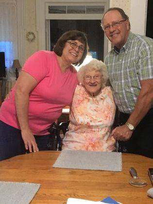 Urbana native and resident Dorothy Fenton Headlee, middle, recently celebrated her 100th birthday with an open house at Hearthstone Farm, Urbana. More than 200 people attended the festivities, including her daughter Mary Ann Barger and son Larry Headlee, shown here.