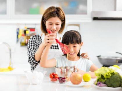 Involve children in simple meal preparations for family fun and to teach healthy eating habits.