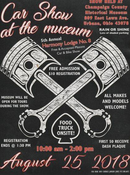 On Saturday, Aug. 25, from 10 a.m. to 2 p.m., the Champaign County Historical Society will host &#8220;Car Show at the Museum&#8221; rain or shine. Sponsored by the Free and Accepted Masons and Harmony Lodge 8, the show will be held under the spreading oaks on the museum&#8217;s front lawn, 809 East Lawn Ave. Admission is free. All makes and models are welcome. There will be food trucks on site and the museum will be open. <em>The Champaign County Historical Society is an all-volunteer, not-for-profit organization that preserves, protects, archives and displays the artifacts that tell the Champaign County story. The society depends upon donations and dues to provide a free public museum, which is open 10 a.m.-4 p.m. Mondays and Tuesdays and 1-4 p.m. Sundays.</em>