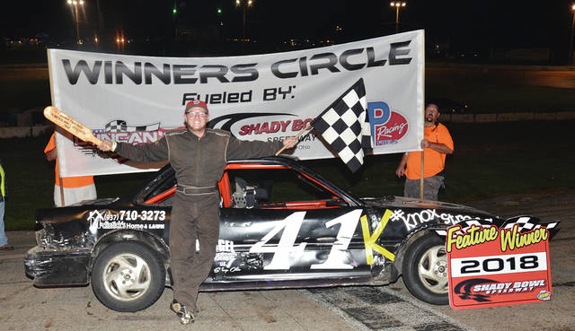 DeGraff's Justin Pope (pictured) swept the Buckeye FWD Mini Stocks Saturday night at Shady Bowl, setting fast time, winning the dash and the feature.
