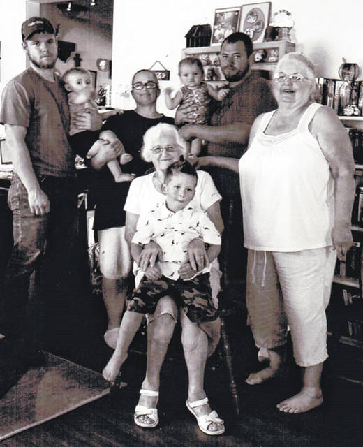 Five generations gathered at Beverly Stegall's Urbana home in August. Shown are Mildred Frazier sitting with Owen Fenton and, back from left, Aaron Kindler holding Carly Kindler, Jennifer Fenton, Calobe Fenton holding Rorree Fenton, and Beverly Stegall.