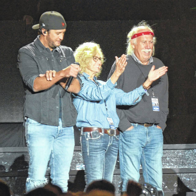 Luke Bryan honored hosts Bonnie and John Ayars during his Farm Tour concert at Ayars Family Farm on Thursday, Sept. 27.