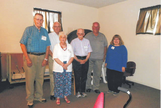 CCRTA members who are former teachers in Mechanicsburg Schools include, from left, Ted Berlin, Carl and Judy Pilkington, Colvin Bear, Glenn Lewis (speaker and substitute teacher) and Carol Nance.