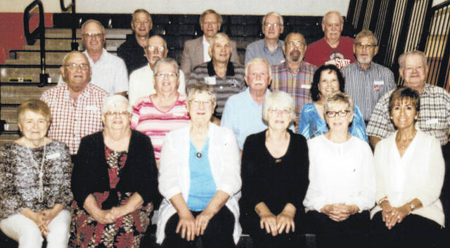 The West Liberty-Salem Class of 1963 held a 55-year reunion Sept. 1 at the school. Attending were, first row from left, Sue Markin, Becky Harrison Meyer, Sharon Eby Broshes, Nevora Fridenmaker Siegenthaler, Arzella Clark Harpest, Linda Legge Inskeep, second row, Phil Crabtree, Marsha King, Gary Haulman, Barbara Johnson Russell, Dewitt Evans, third row, Phil Neer, Phil Kimball, Jim McCullough, Phil Headings, David King, fourth row, Al Traucht, Tom Lehman, Mike Farley and Dennis Troyer. Teacher Wilbur Molitor also attended.