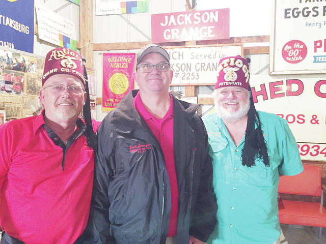 Pictured from left are Shrine Noble Rob Butler, Club President; Noble Scott Spangler; Ill. Sir Bret Stahler, Antioch Shrine Potentate.