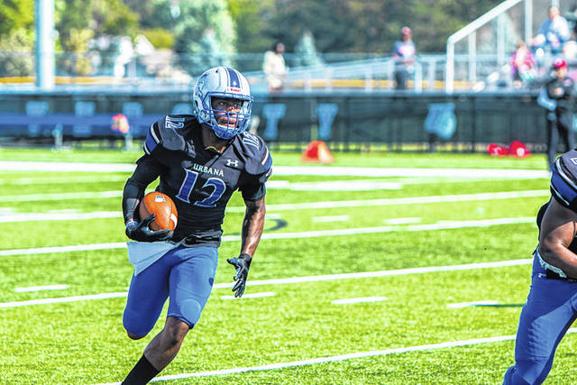 Urbana University's Shemar Hooks looks for daylight on Saturday at UU.