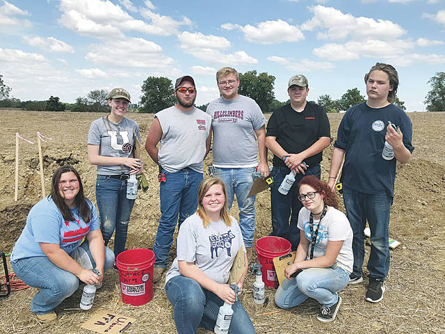 The Urbana FFA Soil Judging team. Standing, left to right, Mackenzie Bean, Justin Preece, Nick Crumley, Conor Thomas, Alistair Greenlee. Kneeling, left to right: Ashlyn Dunn, Janie Wallace, Phoebie Heatherly.